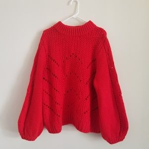 H&M Red Oversized Balloon Sleeve Sweater XL